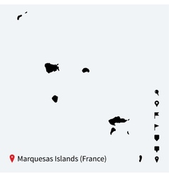 High detailed map of Marquesas Islands with vector