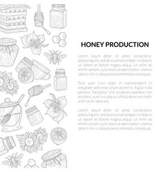 honey production banner template with hand drawn vector image