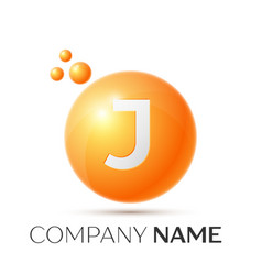 j letter splash orange dots and circle bubble vector image