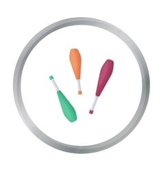 Juggling clubs icon in cartoon style isolated on vector