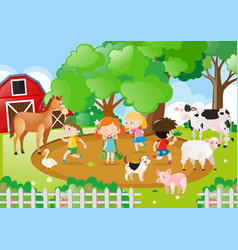 Kids and farm animals in the farm vector