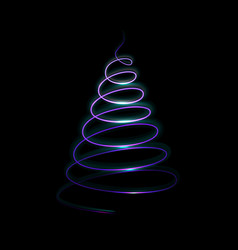 light christmas tree on dark background template vector image