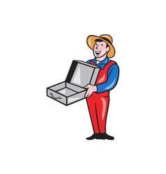 Man holding empty open suitcase cartoon vector