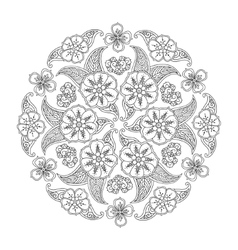 Mendie Mandala with flowers and leaves vector