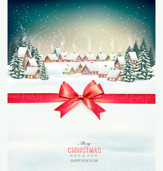 merry christmas background with red gift bow and vector image