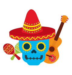 mexican skull with hat guitar and maracas vector image