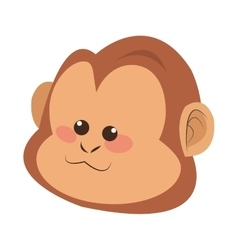 monkey face cartoon icon vector image
