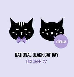 National black cat day greeting card vector