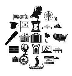 New map icons set simple style vector