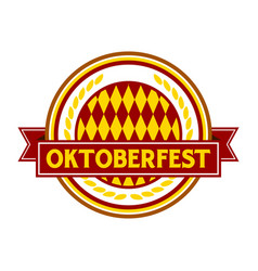oktoberfest red circular badge symbol logo design vector image