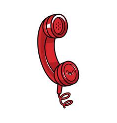 Old telephone isolated kawaii cute cartoon vector