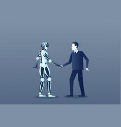 people and robots handshake modern human and vector image