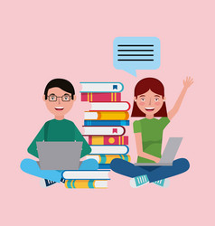 people learning education related vector image