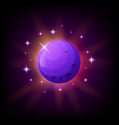 purple planet with rings icon for game or mobile vector image