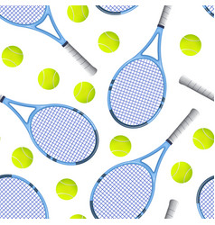 realistic detailed 3d tennis racket and ball vector image
