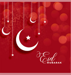 Red eid mubarak background with moon and star vector