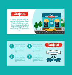 Seafood house horizontal flyers vector