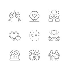 set line icons love and romance vector image