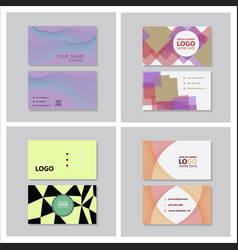Set of modern simple light business card template vector