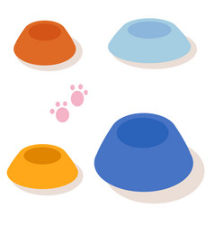 set of multi-colored bowls for pets isolated on vector image