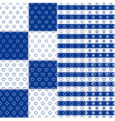 set seamless nautical patterns with rope elements vector image