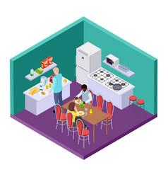 Shared kitchen in an international hostel vector