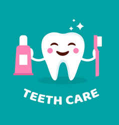 Smiling tooth with toothbrush and toothpaste vector