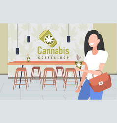 Smiling woman with cannabis coffee modern cafe vector