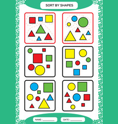 Sort by shapes sorting game group by shapes vector