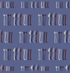 spoons forks knives cutlery pattern steel vector image