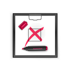 square black clipboard with red cross mark icon vector image