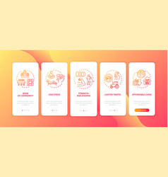 Suburb life conditions onboarding mobile app page vector