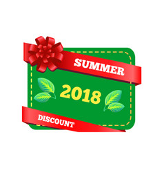 summer discount 2018 gift certificate with bow vector image