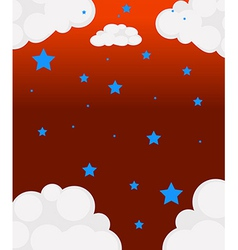The blue stars and the white clouds vector image vector image