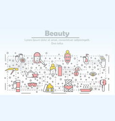 thin line art beauty poster banner template vector image