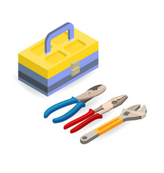 toolbox wrench pliers isometric construction vector image