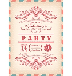 Valentine day card party invitation vector image