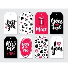 Valentines day gift tag set Coolection of vector