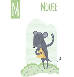 Vertical of mouse on a colorful meadow background vector