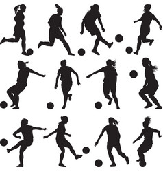 woman soccer player silhouette vector image