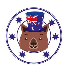 Wombat hat australian flag emblem vector