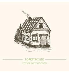 Wood house in retro sketch style vector