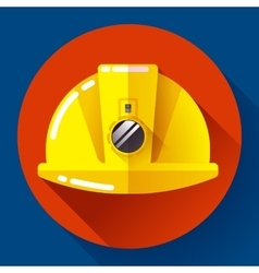 Yellow construction worker helmet with flashlight vector image