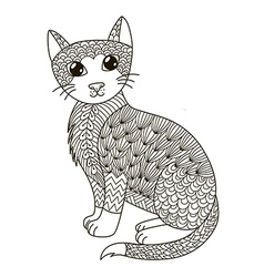 Zentangle cat for coloring page vector