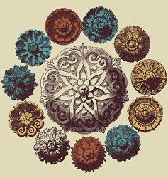 baroque design elements vector image vector image