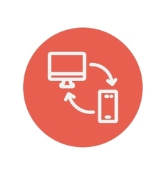 Computer mobile device and network connection vector image