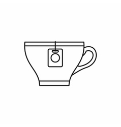 Cup with teabag icon outline style vector image vector image