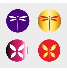 Dragonfly logo and butterfly symbol insect logo ve vector image