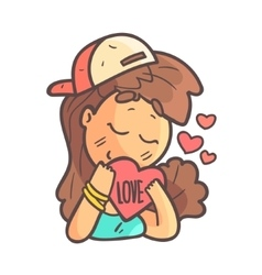 In Love Girl In Cap Choker And Blue Top Hand vector image vector image
