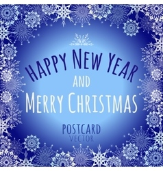 Blue holiday card with white snowflakes vector image